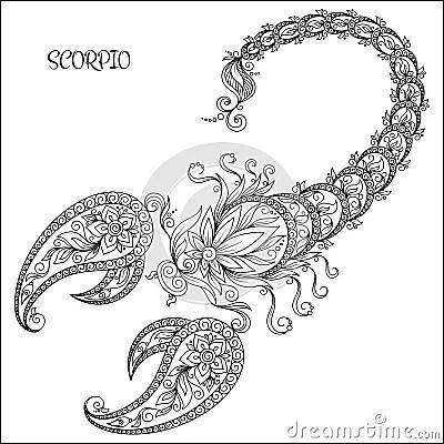 Hand Drawn Pattern For Coloring Book Zodiac Scorpio. Stock