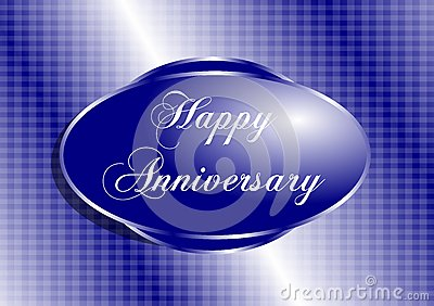 Happy Anniversary Greeting Card In Blue Stock Photography
