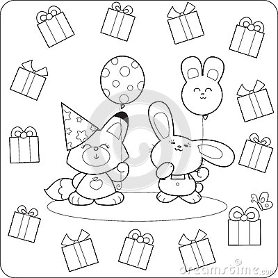 Happy Birtday! Cute Coloring Animals Royalty Free Stock
