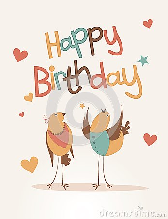 Happy Birthday Card With Love Bird Stock Photo Image