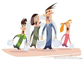 Happy Cartoon Family Shopping CartoonDealer com #30279507