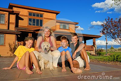 Happy Family Outside House Stock Photos Image 4027703