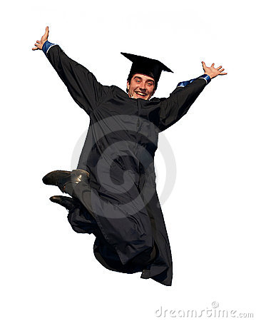 Happy jumping graduate isolated