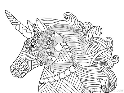 Head Unicorn Coloring Vector For Adults Stock Vector