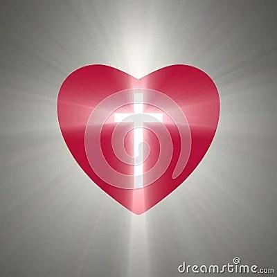 Heart Shape With A Shining Cross Inside Stock Illustration