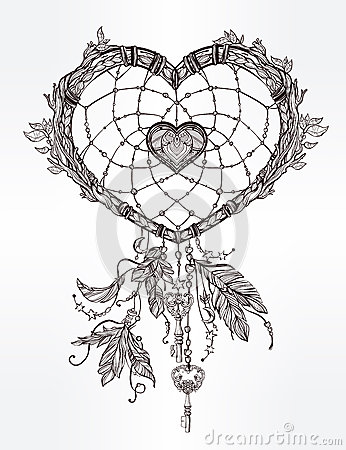 Heart Shaped Dream Catcher With Feathers. Stock Vector