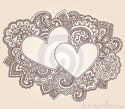 Henna Hearts Valentines Day Vector Royalty Free Stock