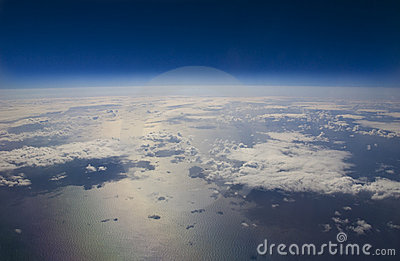 High Altitude View Of The Earth In Space Stock Photos