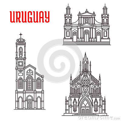 Historic Famous Architectural Buildings Of Uruguay Stock