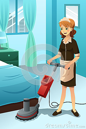 Hotel Janitor Cleaning The Hotel Room Stock Vector  Image 40469715