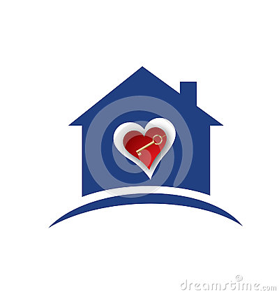 House Heart And Gold Key Logo Royalty Free Stock Photo