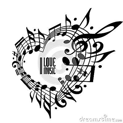 I Love Music Concept, Black And White Design. Stock Vector