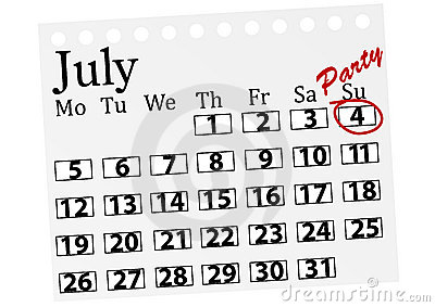 Illustration Of A Calendar With 4th July Marked Stock