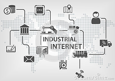 Industrial Internet (IOT) Concept With World Map And