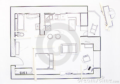 Interior Design Apartments Top View Paper Model Stock Images