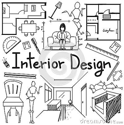 Interior Design Profession Doodle In White Paper