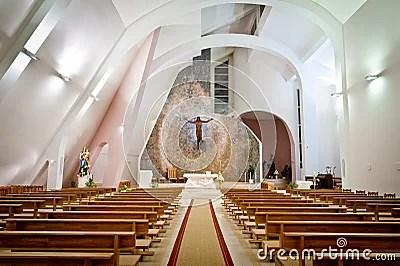 Interior Grande De La Iglesia Moderna Foto de archivo