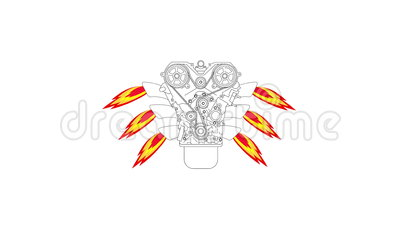Internal Combustion Engine, With Fire From The Exhaust