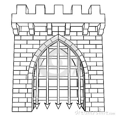 Isolated Medieval Gate Vector Drawing Or Coloring Royalty