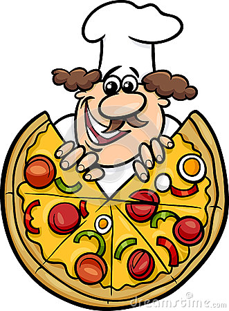 Italian Chef With Pizza Cartoon Illustration Stock Vector