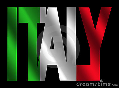 Italy Text With Italian Flag Stock Photography Image