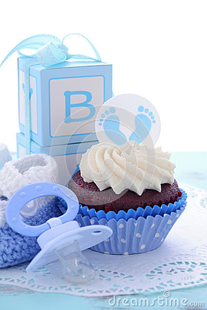Its A Boy Blue Baby Shower Cupcakes Stock Photo  Image 57045774