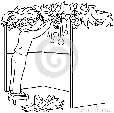 Jewish Guy Builds Sukkah For Sukkot Coloring Page Royalty
