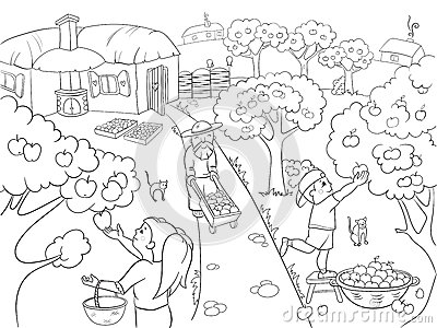 Kids Coloring Cartoon On The Theme Of Harvest Vector Stock