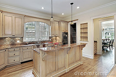 Kitchen With Doubletiered Island Stock Image  Image