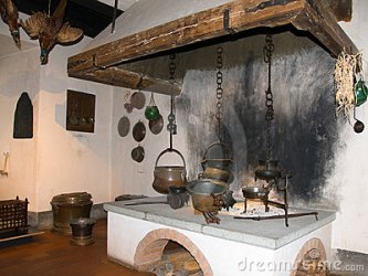 medieval kitchen castle fireplace cooking dreamstime kitchens fireplaces royalty castles google result hearth pots chateau times gothic medieva food houses