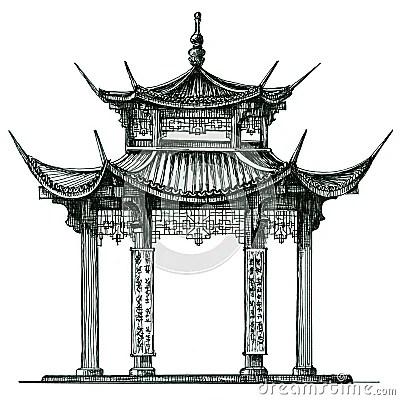 Lasie Temple Sur Un Fond Blanc Le Japon Chine