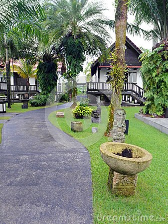landscaped tropical resort garden