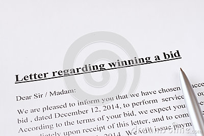 Letter Regarding Winning A Bid Or Auction. Business Or