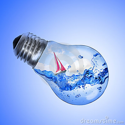 Light Bulb With Water And Yacht Inside Royalty Free Stock