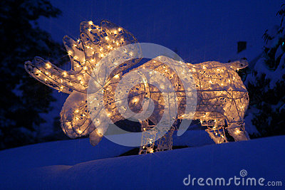 Lighted Moose At Christmas Royalty Free Stock Photography
