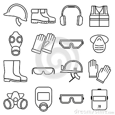 Linear Job Safety Equipment Vector Icons Set Stock Vector