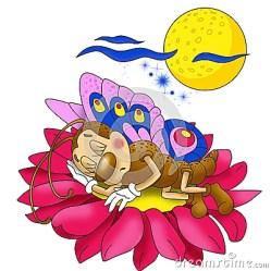 sleeping butterfly flower cartoon