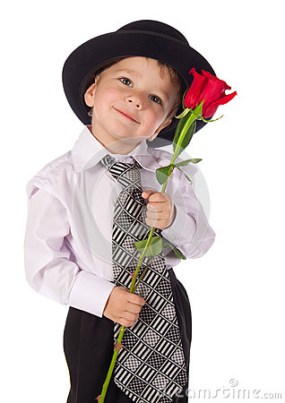 Little Boy With Red Rose Royalty Free Stock Image Image