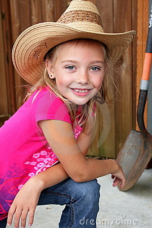 Little Farm Girl In A Straw Hat Royalty Free Stock Photos  Image 20524978
