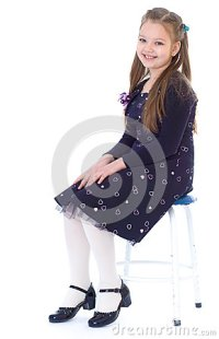 Little Girl In A Black Dress Stock Photo - Image: 39163213