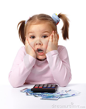Girl Holding Money Wallpaper Little Girl Plays With Money Making Shocked Face Royalty