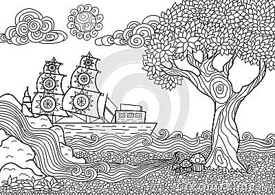Livre De Coloriage De Paysage Illustration de Vecteur