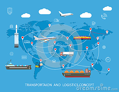 Logistics Flat Global Transportation Concept Cartoon