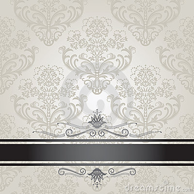 Black And White Victorian Wallpaper Luxury Floral Silver Book Cover Royalty Free Stock Photo
