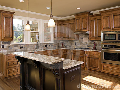 Luxury Kitchen Two Tier Island Royalty Free Stock Image