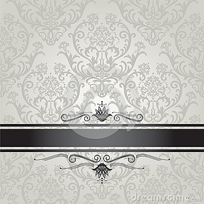 Wallpaper Hd Floral Luxury Silver Floral Wallpaper Pattern With Black Royalty