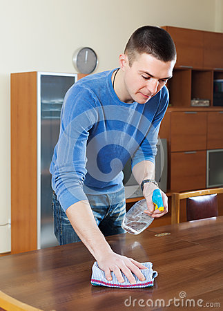 Man Cleaning Table With Rag And Cleanser Stock Photo  Image 42364880