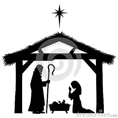 Mary Joseph And Jesus Silhouette Stock Vector Image