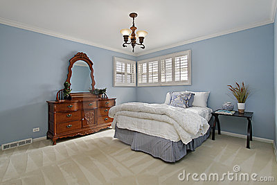 Master Bedroom With Light Blue Walls Stock Images  Image