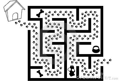 Maze Puzzle Of Pet Puppy Dog Paw Prints Trail Stock Images